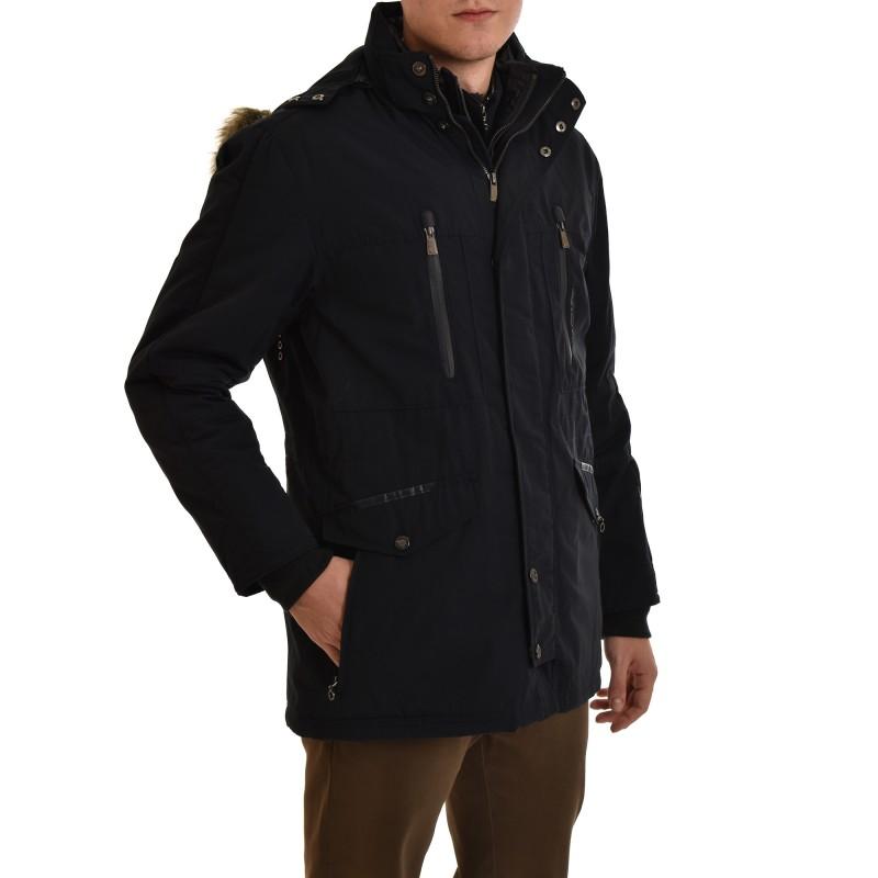 Navy & Green Jacket Remouvable Hood-Dark Blue