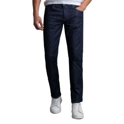 Navy & Green Jeans Low Waist-Blue