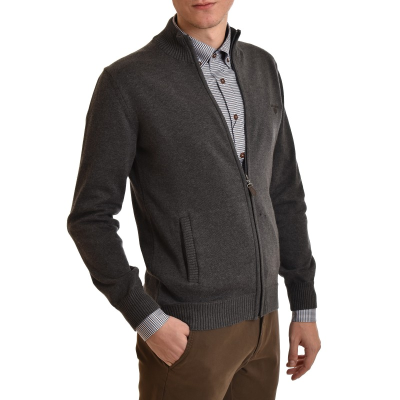Navy & Green Jacket Knitted loupeto With Zip-Carbon