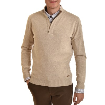 Navy & Green Sweater Loupeto With Button-Beige