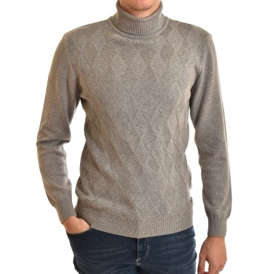 Navy & Green Sweater Turtleneck-Silver Grey
