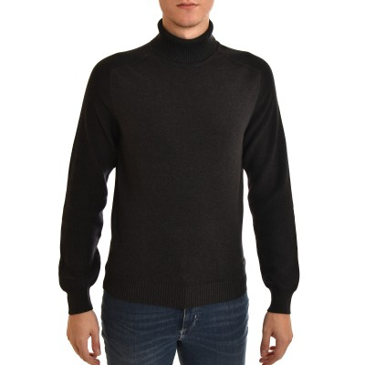 Navy & Green Sweater Turtleneck-DK Grey