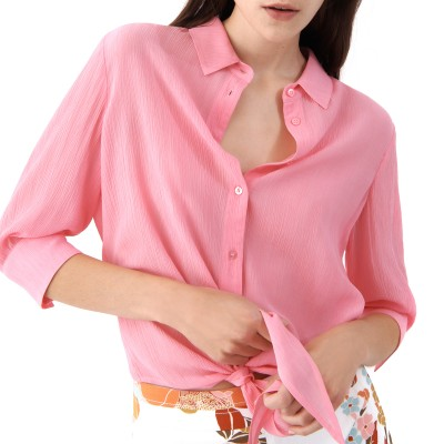 Marella Shirt Tilde Knotted With Tie Front Hem Loose Fit-Deep Rose