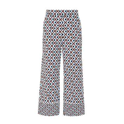 Marella Trousers Musico Patterned Straight Cut With Future Cotton Print-Deep Blue