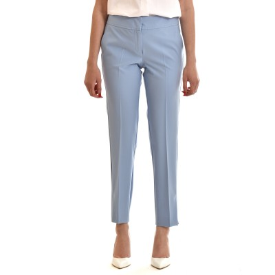 Marella Trousers Film Cigarette With Pressed Creases-Light Blue
