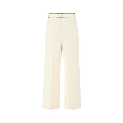 Marella Pants Ritiro Fluid Belt With Knitted Trimmings Straight Fit-Cream