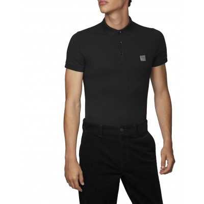 Boss Polo Slim Fit In Washed Pique With Logo Patch-Black