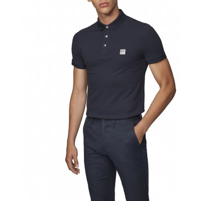 Boss Polo Slim Fit In Washed Pique With Logo Patch-Dark Blue