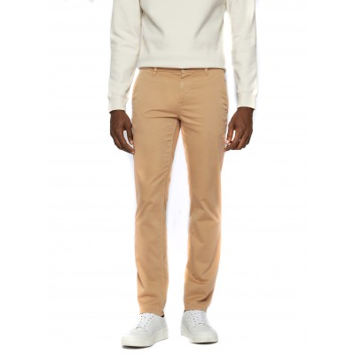 Boss Chino Pants Casual Slim Fit In Brsuhed Stretch Cotton-Tabac