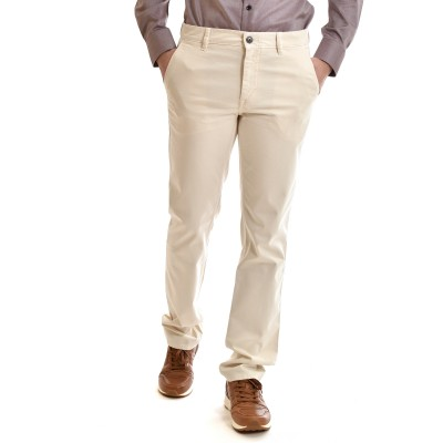 Boss Chino Pants Slim Fit In Brushed Stretch Cotton-Ecru