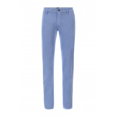 Boss Chino Pants Casual Slim Fit In Brsuhed Stretch Cotton-Light Blue