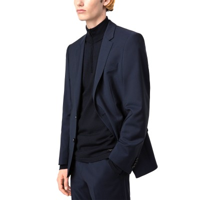 Hugo Boss Blazer Slim Fit In Virgin Wool Poplin-Dark Blue