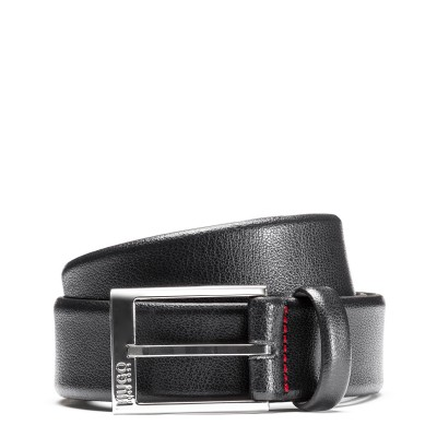Hugo Boss Belt Embossed Leather With Polshed Silver-Effect Hardware-Dark Blue