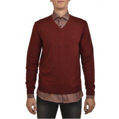 Hugo Sweater V-Neck-Dark Pink