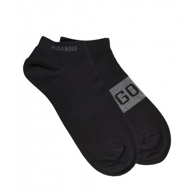 Boss Socks Anckle Two-Pack With Contrast Logo Details-Black