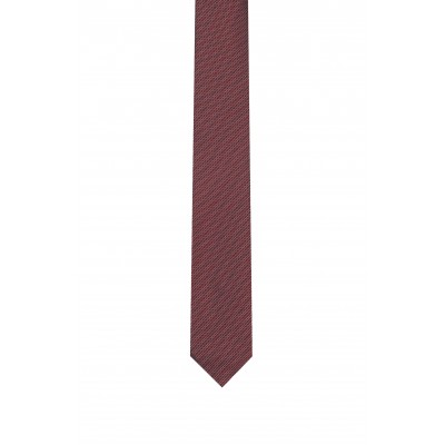 Hugo Boss Tie 7 cm Micro-Pattern Jackquard Pure Silk-Bordeaux