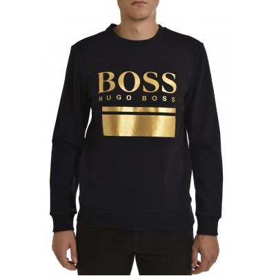 Boss Sweatshirt With Printed Logo Artwork Slim Fit-Dark Blue