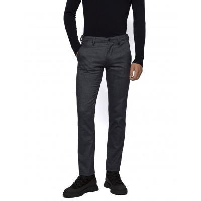 Boss Trousers Chino Slim Fit In Brushed Strech Cotton Blend-Blue