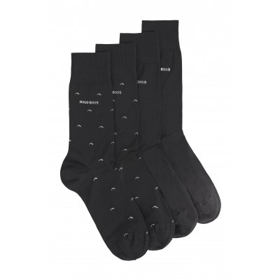 Boss Socks Two-Pack In Mercerised-Cotton Blend-Black