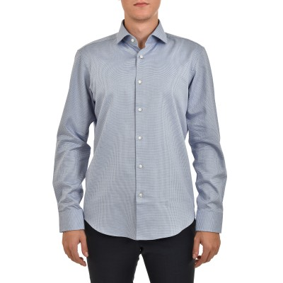 Boss Shirt Regular Fit Easy Iron Micro-pattern-Light/Pastel Blue