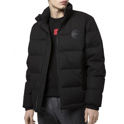 Hugo Quilted Jacket With Reversed-Logo Badge-Black