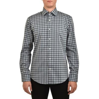 Boss Shirt Regular Fit In Structured Vichy-Check Cotton-Dark Green