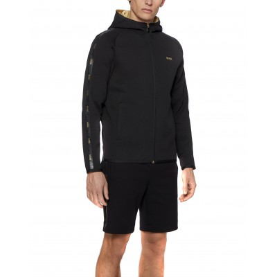 Boss Sweatshirt Hooded Interlook-fabric With Logo-tape Trim-Black