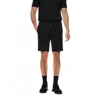 Boss Shorts With Gold Logo Detailing-Black