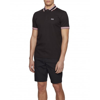 Boss Polo With Three Coloured Stripes & Logo Regular Fit-Black