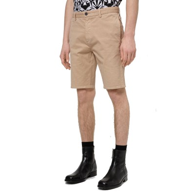Hugo Boss Shorts Slim Fit In Stretch Cotton Gabardine-Medium Beige