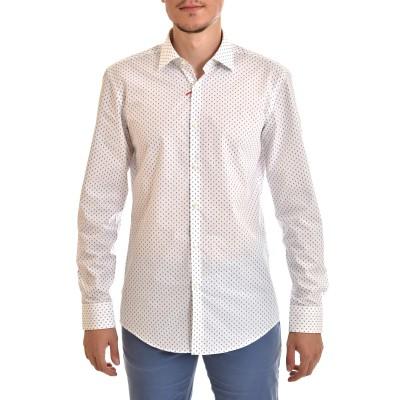 Hugo Shirt Slim Fit Micro Pattern-White