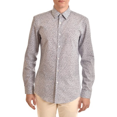 Boss Shirt Micro-Pattern Floral Slim Fit-White