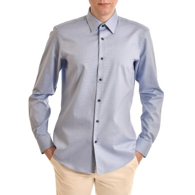 Boss Shirt Micro-structured Cotton Regular Fit-Light Blue