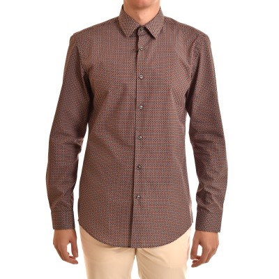 Boss Shirt Micro-Pattern Dots Slim Fit-Brown