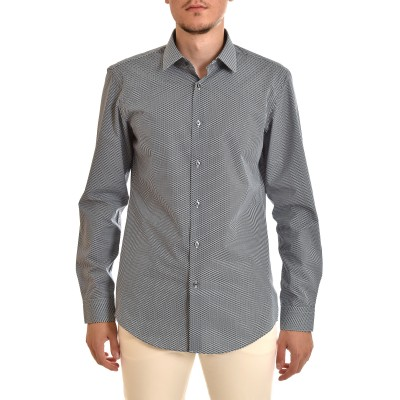 Boss Shirt Micro-Pattern Drop Slim Fit-Black/White