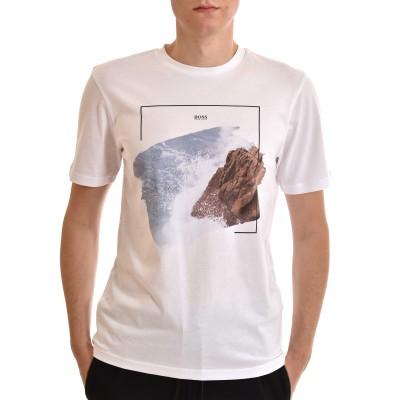 Hugo T-Shirt With Coastal Graphic Print-White