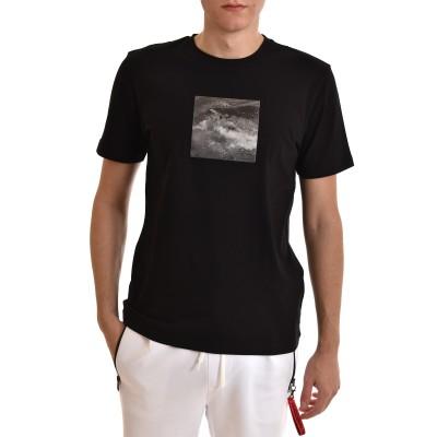 Boss T-Shirt With Photographic Shark Print-Black