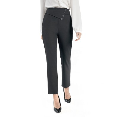 Forel Trousers Hight-Waisted With Buttons-Black