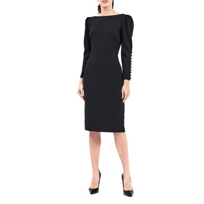 Forel Dress SLV Whit Buttons-Black