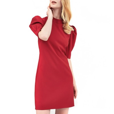 Forel Dress Mao Collar Puffed S-SLV-Red
