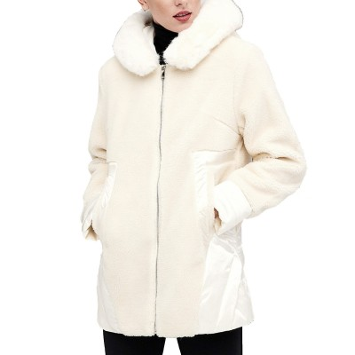 Forel Jacket Hooded Teddy Bear Effect Typhoon Details-Ecru