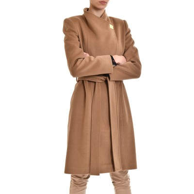 Forel Coat Gold Square Button-Camel