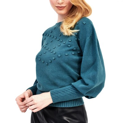 Forel Knitted Blouse Pom-pom-Petrol