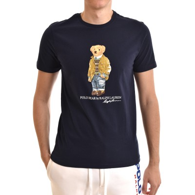 Polo Ralph Lauren T-Shirt Bear M Classics Custom Slim Fit-Navy