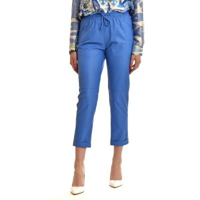 Twenty-29 Jogger Pants Leather Effect-Royal Blue