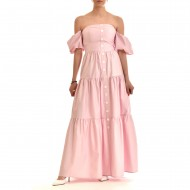 Twenty-29 Dress Maxi Strapless With Puffed Slv-Pink