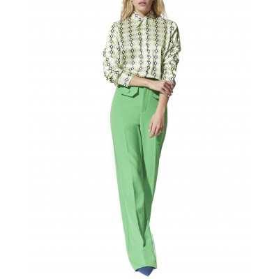 Twenty-29 Trousers Wide Straight With Flap Pockets-Neon Green