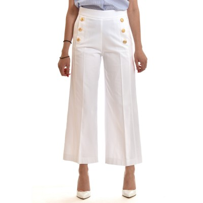 Twenty-29  Zip Culotte High Waisted With Gold Buttons-White