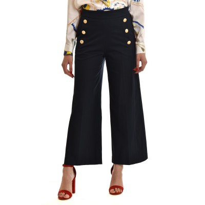 Twenty-29 Zip Culotte High Waisted With Gold Buttons-DK Blue