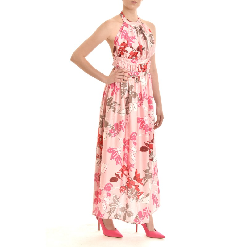 Twenty-29 Dress Maxi Satin With Open Back & Floral Pattern-Pink
